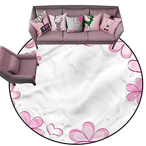 Anti Slip House Kitchen Door Area Rug Pale Pink,Girls Hearts Cute Flower Diameter 78