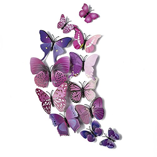 AKOAK 24 Pcs 3D Butterfly Wall Stickers Art Decor Decals with Sponge Gum and Magnet(Purple) (3d Butterfly Wall Decals)