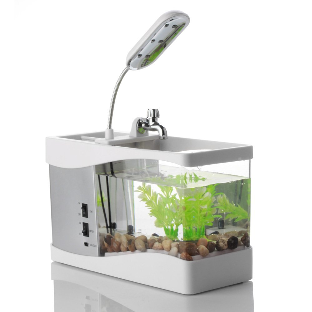 Usb mini aquarium fish tank with colorful light - Amazon Com Flexzion Usb Desktop Aquarium Mini Fish Tank With Running Water Lcd Time Clock Alarm Colorful Led Lamp Light Calendar Holds 1 5 Quart For Home