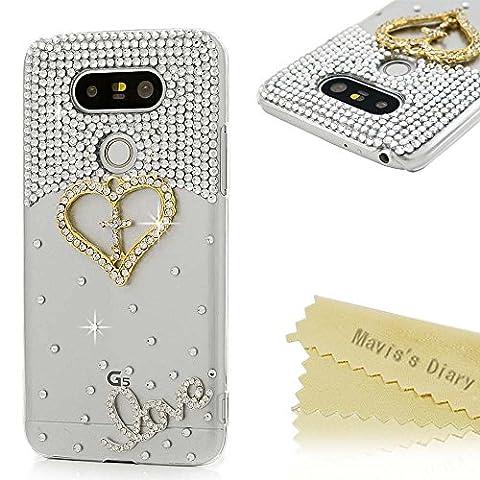 LG G5 Case (LG H868) - Mavis's Diary 3D Handmade Bling Crystal Shiny Sparkly Diamonds Rhinestone Design with Golden Love Heart Clear Case Hard PC - Juicy Full Diamond