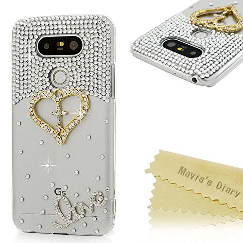 Price comparison product image LG G5 Case (LG H868) - Mavis's Diary 3D Handmade Bling Crystal Shiny Sparkly Diamonds Rhinestone Design with Golden Love Heart Clear Case Hard PC Cover