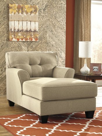 Tufted Chaise in Brown/Beige The Upholstery Material is Polyester Cushion Fill Material is Foam No Assembly Required by AVA Furniture