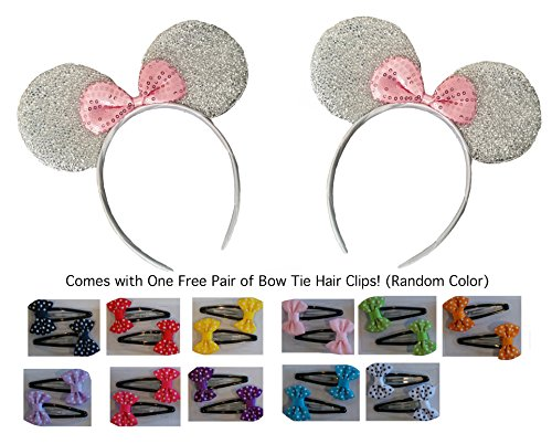 Mickey/Minnie Mouse Style Ears Headband for Boys Girls, Parties, Disneyland (Sparkling Silver with Pink Bow/Bow Tie Hair Clips (2 Pack)) ()