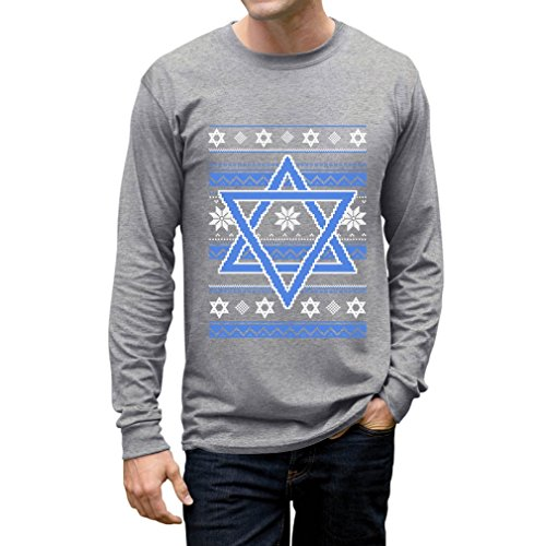 TeeStars Happy Hanukkah Ugly Holiday Sweater Star Of David Long Sleeve T-Shirt Medium Gray Jew Christmas Sweater