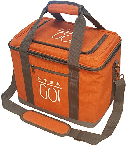 GO! 30 Can Soft-Sided Collapsible Cooler: 15 Liter Insulated Tote Bag - Burnt Orange - Small Soft Sided Cooler