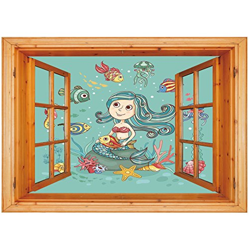 3D Depth Illusion Vinyl Wall Decal Sticker [ Kids Underwater,Under the Sea Theme with Little Mermaid Fish Sea Creatures Retro Style Cartoon Print,Teal ] Window Frame Style Home Decor Art Removable Wal