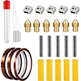 Hestya 29 Pieces 3D Printer Accessories, Brass Extruder Nozzle, 1.75 mm Extruder Tube, Drill Bits, Heating Block, Heating Block Cotton and Polyimide High Temp Tape for MK8 Makerbot