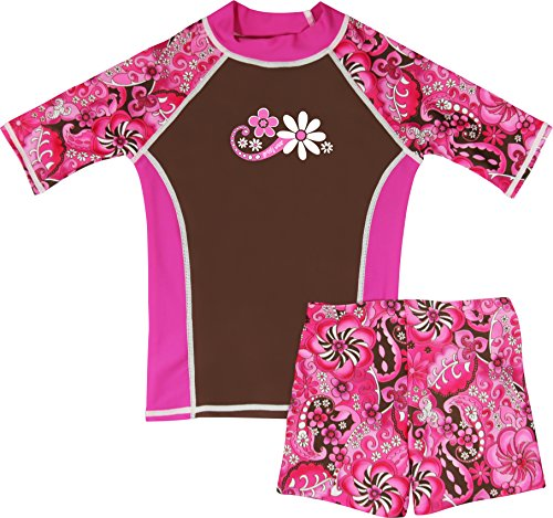 grUVywear UV Sun Protective UPF 50+ Girls UV Rashguard 2 pc Swim Top & Short Set (M 7-8, Paisley Pink)
