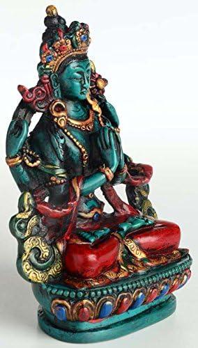Chenrezig tibetischer Bouddha et protection Saint du Tibet 11/cm de haut en r/ésine GIES Turquoise main Figurine main en N/épal