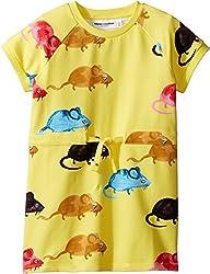 Mini Rodini Girls Mr Mouse Sweat Dress1715015023, Yellow, 104/110