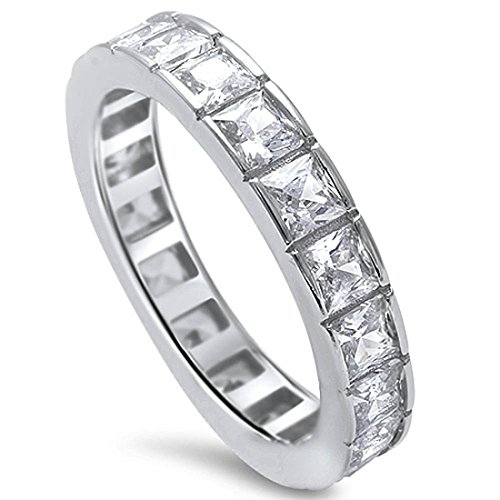 (4mm Full Eternity Stackable Band Ring Princess Cut Square Invisible Cubic Zirconia 925 Sterling Silver)
