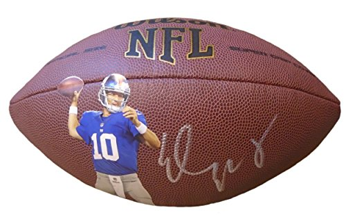 Eli Manning Signed Football (Eli Manning Autographed / Signed Photo NFL Wilson Football w/ Proof Photo of Signing, New York Giants, 2-Time Super Bowl MVP,)