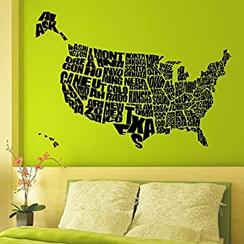 Vinyl Wall Decals United States US Map Decals Words Decal Sticker - Us road map wall decals