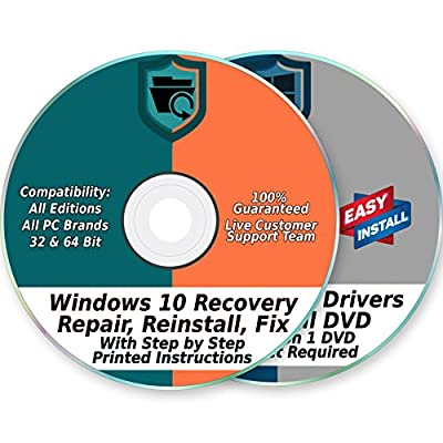 Windows 10 32 & 64-Bit Install, Reset, Boot, Recovery, Restore, Repair & Fix Disk with 2018 Drivers 2 DVD Set for Home & Professional {All PC Brands & Systems}