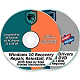 Kyпить Windows 10 32 & 64-Bit Install, Reset, Boot, Recovery, Restore, Repair & Fix Disk with 2018 Drivers 2 DVD Set for Home & Professional {All PC Brands & Systems} на Amazon.com