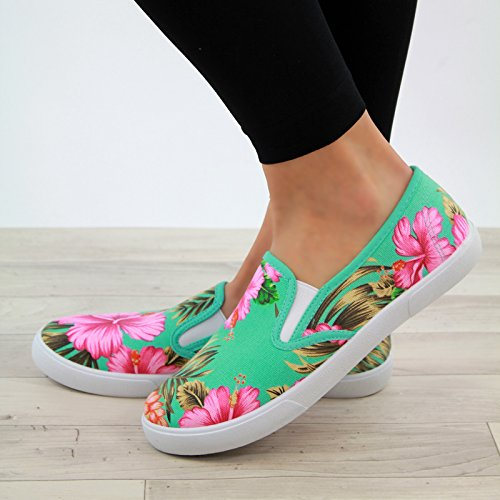 New Womens Flat Casual Sneakers Slip On Trainers Comfy Pumps Holiday Shoes Turquoise xJAQsS