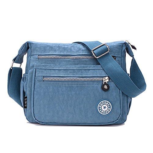 Tibes Patterned Bag Nylon Shoulder Bag For Women Crossbody Messenger Bag Girls Ladies Deep Blue B Grey