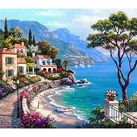 YUMEART Snow Mountain DIY Diamond Painting Cross-Stitch Kit Full Diamond Embroidery Scenery Square Mosaic 5D Diamond Needlework