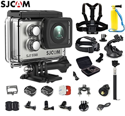 SJCAM SJ7 Star Kit {SJ7 Camera with Accessories, 6-in-1 Accessories} Real 4K Action Camera Wifi Waterproof Underwater Camera Ambarella Chipset 30FPS/Sony Sensor 12MP Gyro Stabilization-Silver