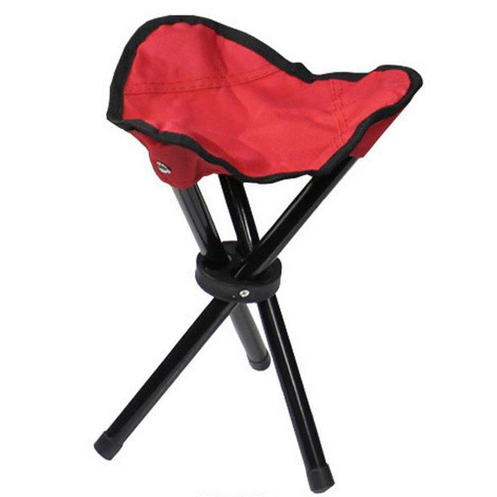 Taburete plegable de Cosanter con 3 patas, cómoda silla para pesca, camping, caza o eventos al aire libre, rojo
