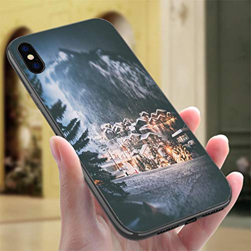 Creative iPhone Case for iPhone 7/8Val disere French ski Resort Illuminated Village by Snowy Night in European Alps in Winter Resistance to Falling, Non-Slip,Soft,Convenient Protective Case