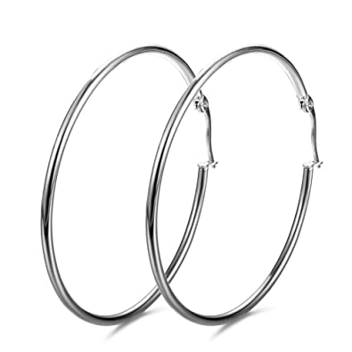 458638257 3 Pairs a Set Pure 925 Sterling Silver Large Hoop Earrings Women Plated  Sterling Silver Rounded Tube Hoop Earrings High Polished Thin Silver Hoops  Earrings ...