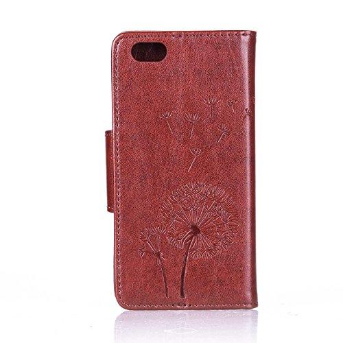 Für Apple iPhone 6 (4.7 Zoll) Tasche ZeWoo® Ledertasche Strass Hülle PU Leder Schutzhülle Glitzer Case Cover - L071 / Löwenzahn (braun)