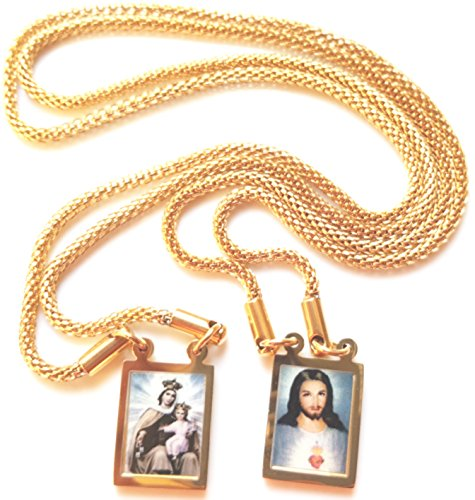 Our Lady Mount Carmel chain necklace Jesus 24K GOLD filled Scapular Jewelry