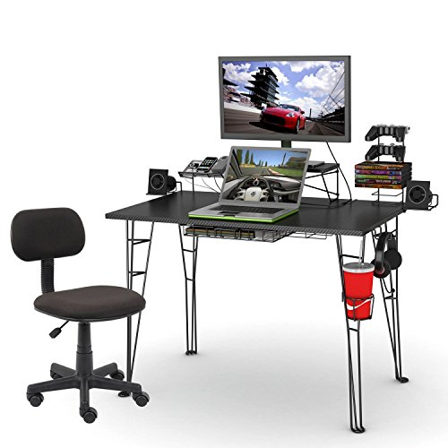 51C%2BGeeuhTL - Atlantic Inc Gaming Desk and Task Chair Set in Black