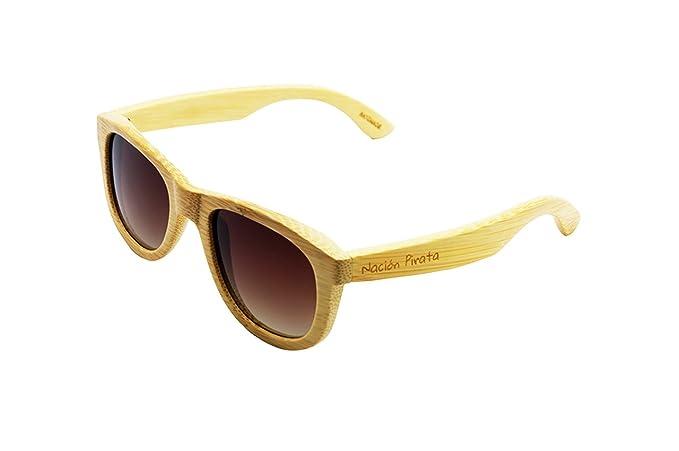 Nación Pirata - Gafas de Sol de Moda Madera de Bambú - Polarizadas, hechas a