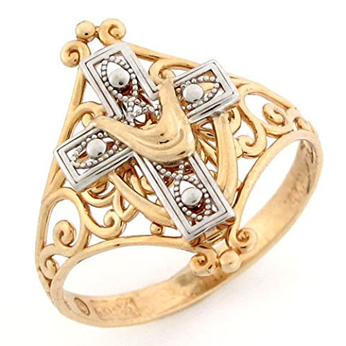 14k Two Tone Gold Cross Shroud Religious Filigree Ring