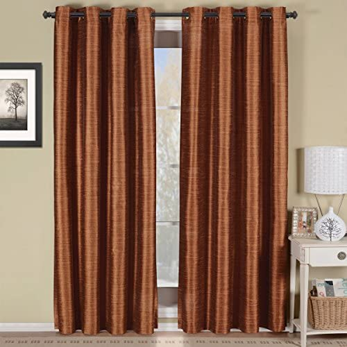 Royal Hotel Geneva Multi-Layer Rust Grommet Blackout Window Curtain Panel, Lined-Stripe Pattern, 52×96 inches