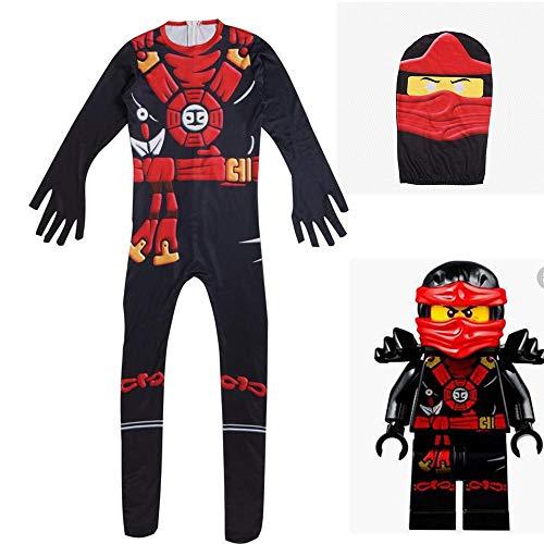 Halloween Kids Ninja Costume,Cartoon Jumpsuit Cosplay Costume with Mask for Unisex Teens