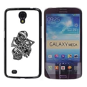 Caucho caso de Shell duro de la cubierta de accesorios de protección BY RAYDREAMMM - Samsung Galaxy Mega 6.3 - Cráneo cuadrilla B & W