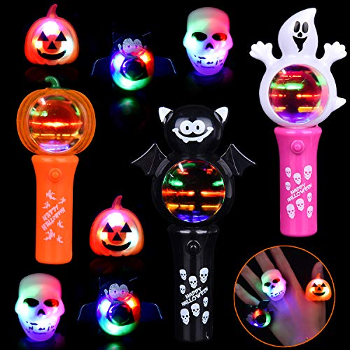 9PCs Halloween Party Favors Set, Glowing Toys Including LED Lighted Spinning Wands and LED Flashing Finger Rings for Glow in The Dark Party Supplies, Halloween Gifts