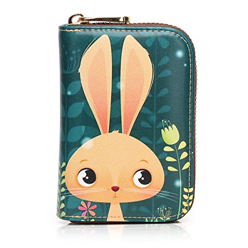 APHISON RFID Credit Card Holder Wallets for Women Leather Cartoon Patterns Zipper Card Case for Ladies Girls/Gift Box 014 (Coin Face Smile Purse)