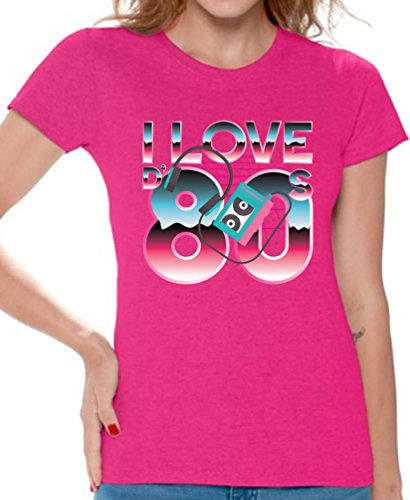 (Awkward Styles 80s Shirts 80s Clothes for Women 80s Disco Theme I Love The 80s Pink)