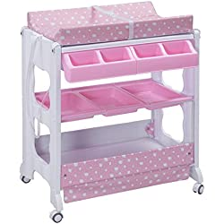 Costzon Baby Bath and Changing Table, Diaper Organizer for Infant with Tube & Cushion (Pink)