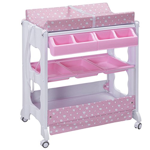 Pink Changing Table - Costzon Baby Bath and Changing Table, Diaper Organizer for Infant with Tube & Cushion (Pink)