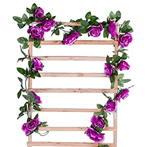 DearHouse Artificial Flower Rose Vine Garland, 8FT/Piece 2 Pack Realistic Artificial Flowers Fake Roses Flowers Plants for Home Kitchen Wedding Party Garden Craft Art Decor (Purple) 2