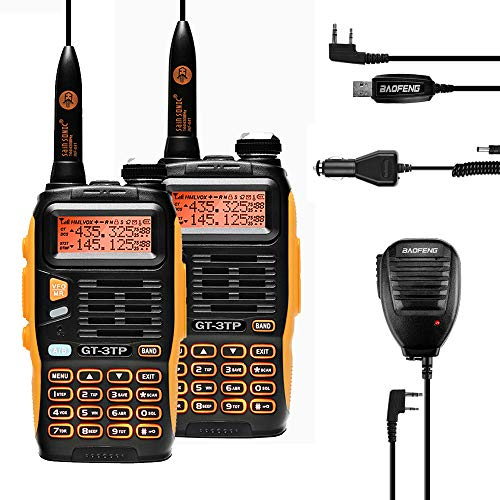 Baofeng GT-3TP Mark-III 8W/4W/1W High Power Dual Band Two-Way Radio Transceiver 2 Pack + 2 Remote Speaker + 2 Car Charger + 1 Programming Cable