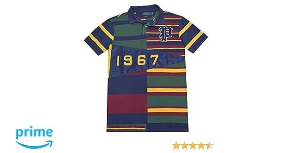 5cda8ff7d Polo Ralph Lauren Men's Custom Fit Pennant Mesh Polo Shirt-French  Navy/Multi at Amazon Men's Clothing store: