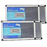 Fenestrelle Adjustable Window Screen, 2 Way Adjustable, Horizontal (10' fits 19-36'w) or Convert to Vertical (19' fits 10-18'w) - 2 Pack