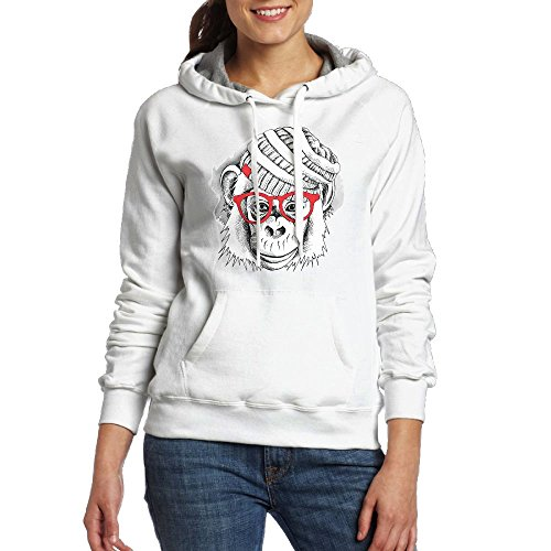 Red Sunglass Monkey Women's Pullover Hoodie Long Sleeve Pocket Sweatshirt M (Sunglasses Monkey Jacket)