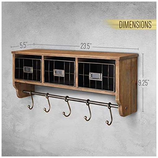 Entryway Rustic Coat Rack Wall Mounted Shelf with Hooks & Baskets, Entryway Organizer Wall Shelf with 5 Coat Hooks and Cubbies…