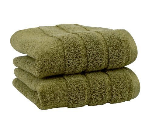 Luxury Hand Towel 2-Pack, Made in the USA with 100% Cotton from Africa - Made Here by 1888 Mills, Moss (100 Percent Cotton Towels Made In Usa)