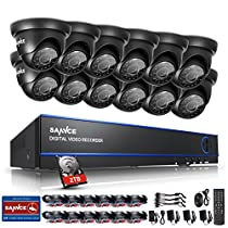 SANNCE 16CH HD 720P Security Camera System with 2TB Hard Drive and (12) 720P Superior Night Vision CCTV Cameras P2P Technology, Motion Detection & Alarm Push, Vandal and WeatherProof