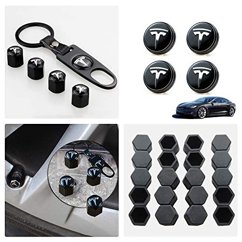 Tesla Model 3 Aero Wheel Cap Kit,Set of 28,Wheel Center Hub Caps Covers with LED Light & Lug Nut Bolt Cover Caps & Tire Valve Cap Cover Logo Styling Combined Package,Blue Light
