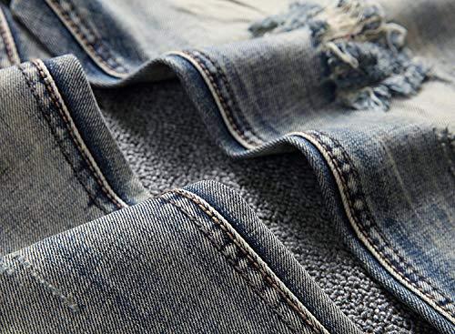 Jeans A Pantaloni Da Fit Bluegrey Media Vita Slim In Dritti Distrutti Strappati Denim Uomo Casual x55rqwECX