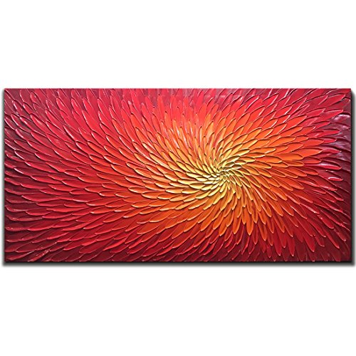 Oil On Canvas Paintings - Amei Art Paintings, 24X48 Inch Paintings Oil Hand Painting 3D Hand-Painted On Canvas Abstract Artwork Art Wood Inside Framed Hanging Wall Decoration Abstract Painting (Red)